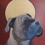 """""""Patron Saint of Tug Toys,"""" 20 x 14 Oil and Gold Leaf on Panel"""